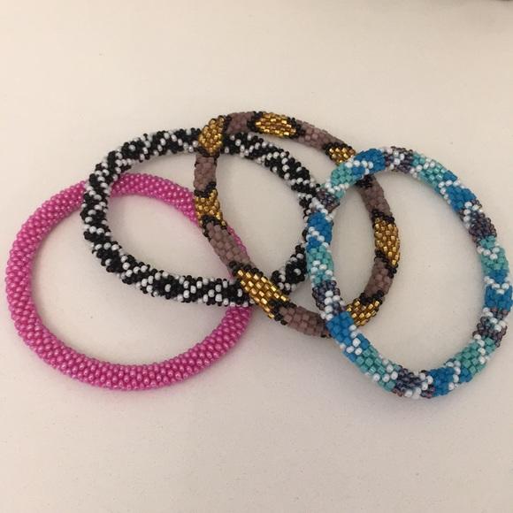 Jewelry Nepal Glass Beaded Bracelets Set Of Four Poshmark